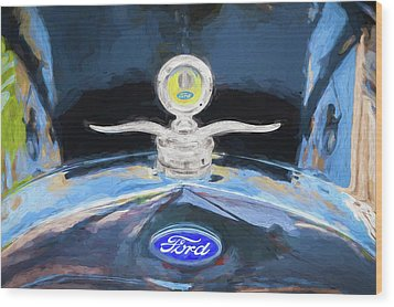 1929 Ford Model A Hood Ornament Painted Wood Print by Rich Franco