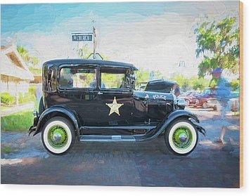 1929 Ford Model A Tudor Police Sedan  Wood Print by Rich Franco