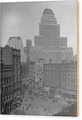 Wood Print featuring the photograph 1929 Summer Street In Dock Square Boston by Historic Image