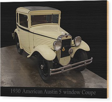 Wood Print featuring the digital art 1930 American Austin 5 Window Coupe by Chris Flees