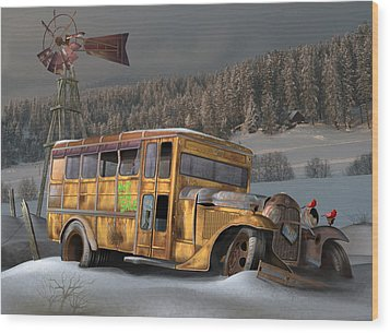 1931 Ford School Bus Wood Print