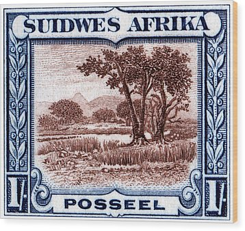 Wood Print featuring the painting 1931 South West African Landscape Stamp by Historic Image
