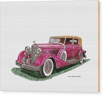 Wood Print featuring the painting 1932 Cadillac All Weather Phaeton V 16 by Jack Pumphrey