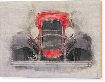 1932 Ford Roadster Red And Black Wood Print