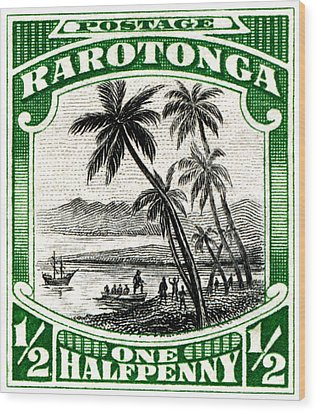 Wood Print featuring the painting 1932 Landing Of Captain Cook Stamp by Historic Image