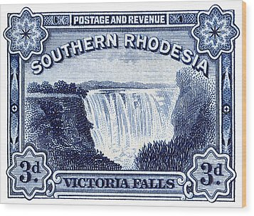 Wood Print featuring the painting 1932 Southern Rhodesia Victoria Falls Stamp by Historic Image