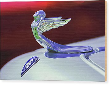 Wood Print featuring the photograph 1933 Plymouth Hood Ornament -0121rc by Jill Reger