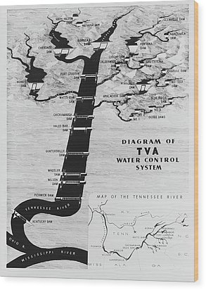 1933 Tennessee Valley Authority Map Wood Print by Daniel Hagerman