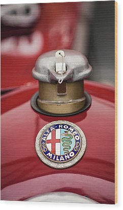 1934 Alfa Romeo Tipo B Hood Emblem Wood Print by Jill Reger