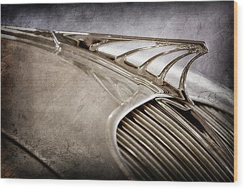 Wood Print featuring the photograph 1934 Desoto Airflow Coupe Hood Ornament -2404ac by Jill Reger