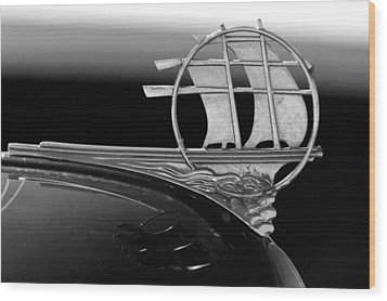1934 Plymouth Hood Ornament Black And White Wood Print by Jill Reger