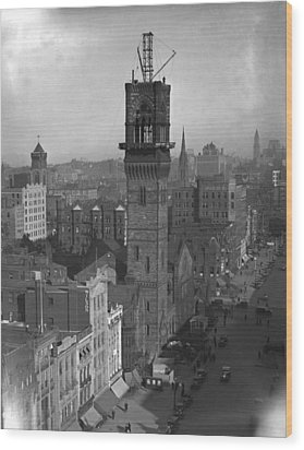 Wood Print featuring the photograph 1935 Back Bay Construction, Boston by Historic Image