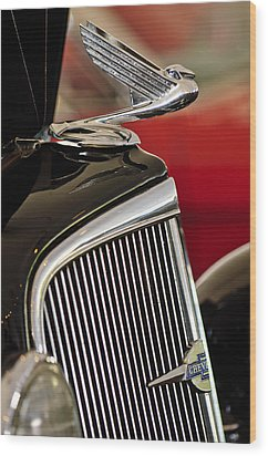 1935 Chevrolet Optional Eagle Hood Ornament Wood Print by Jill Reger