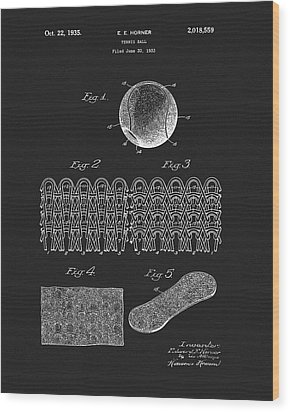 Wood Print featuring the mixed media 1935 Tennis Ball Patent by Dan Sproul