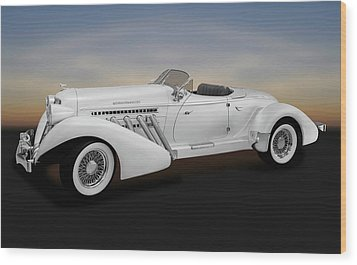Wood Print featuring the photograph 1936 Auburn Supercharged Speedster Convertible  -  1936auburnspeedster170552 by Frank J Benz
