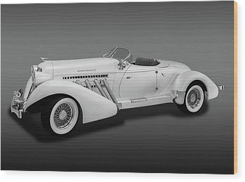 Wood Print featuring the photograph 1936 Auburn Supercharged Speedster Convertible  -  1936auburnsupcgdspeedfa170552 by Frank J Benz