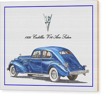 Wood Print featuring the painting 1936 Cadillac V-16 Aero Coupe by Jack Pumphrey