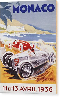 1936 F1 Monaco Grand Prix  Wood Print by Georgia Fowler