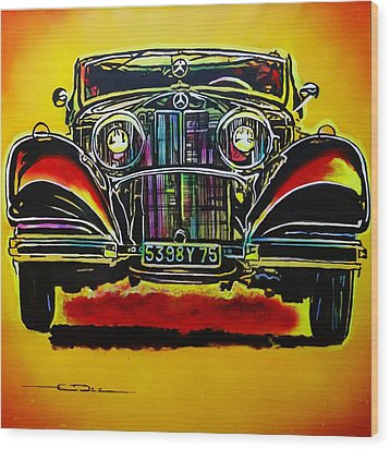 Wood Print featuring the painting 1937 Mercedes Benz First Wheel Down by Eric Dee
