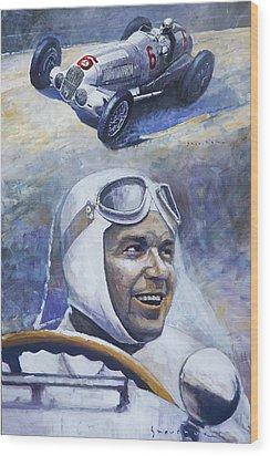 1937 Rudolf Caracciola Mb W125 Wood Print by Yuriy Shevchuk