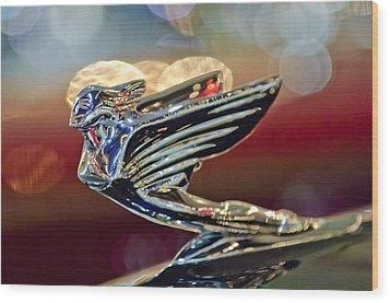 1938 Cadillac V-16 Sedan Hood Ornament Wood Print by Jill Reger