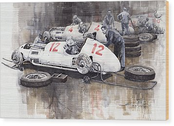 1938 Italian Gp Mercedes Benz Team Preparation In The Paddock Wood Print by Yuriy  Shevchuk