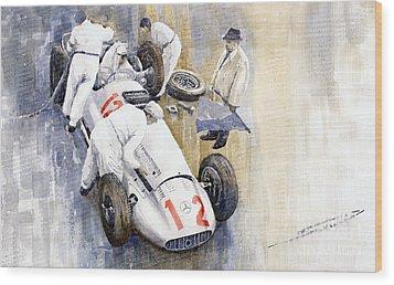 1939 German Gp Mb W154 Rudolf Caracciola Winner Wood Print by Yuriy  Shevchuk