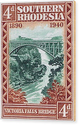 Wood Print featuring the painting 1940 Southern Rhodesia Victoria Falls Bridge  by Historic Image