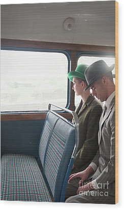 1940s Couple Sitting On A Vintage Bus Wood Print