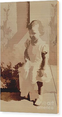 Wood Print featuring the photograph 1940s Little Girl by Linda Phelps