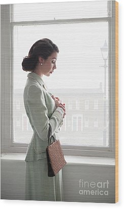 1940s Woman At The Window Wood Print