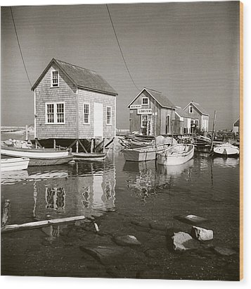 Wood Print featuring the photograph 1941 Lobster Shacks, Martha's Vineyard by Historic Image