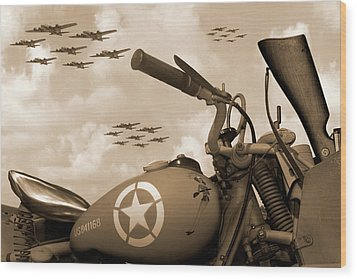 Wood Print featuring the photograph 1942 Indian 841 - B-17 Flying Fortress - H by Mike McGlothlen