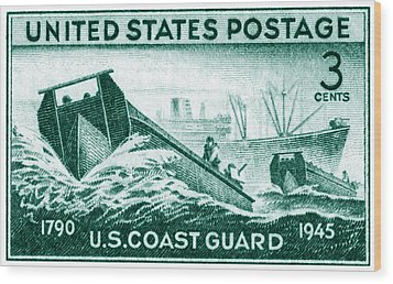 1945 Coast Guard Issue Stamp Wood Print by Historic Image