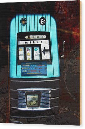 1945 Mills High Top 5 Cent Nickel Slot Machine Wood Print by Karon Melillo DeVega