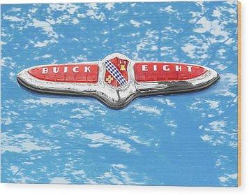 1947 Buick Eight Hood Emblem Wood Print by Jim Hughes