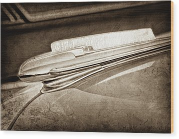 Wood Print featuring the photograph 1948 Chevrolet Hood Ornament -0587s by Jill Reger
