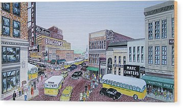 1948 Rush Hour Portsmouth Ohio Wood Print