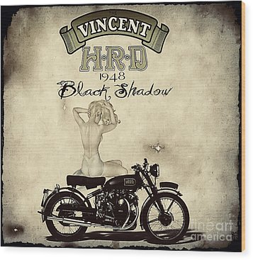 1948 Vincent Black Shadow Wood Print by Cinema Photography