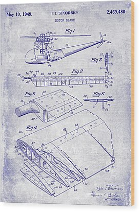 1949 Helicopter Patent Blueprint Wood Print by Jon Neidert