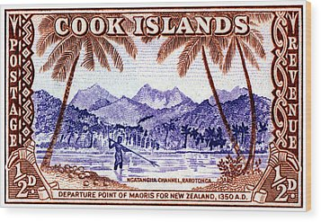 Wood Print featuring the painting 1949 Native Fishing, Cook Islands by Historic Image