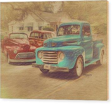 1950 Ford Truck Classic Cars - Homecoming Wood Print by Rebecca Korpita