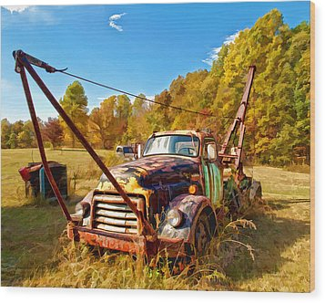 1950 Gmc Truck Wood Print by Mark Allen
