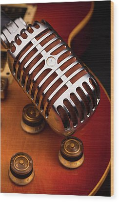 1950's Classic Guitar And Microphone Wood Print by Hal Bergman