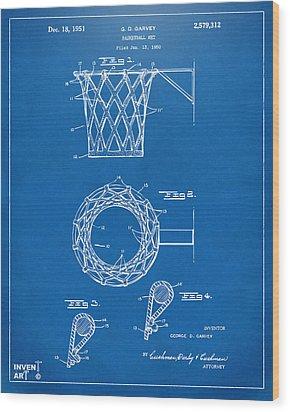 1951 Basketball Net Patent Artwork - Blueprint Wood Print