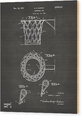 1951 Basketball Net Patent Artwork - Gray Wood Print by Nikki Marie Smith