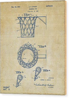 1951 Basketball Net Patent Artwork - Vintage Wood Print by Nikki Marie Smith