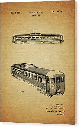 1951 Railway Car Patent Wood Print by Dan Sproul