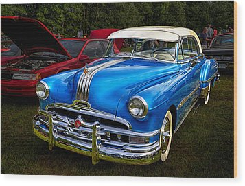 1952 Blue Pontiac Catalina Chiefton Classic Car Wood Print by Betty Denise