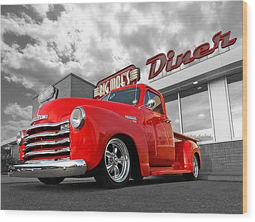 1952 Chevrolet Truck At The Diner Wood Print by Gill Billington